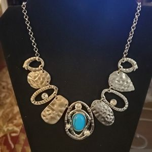 Beautiful Hammered Silver Necklace with Turquoise